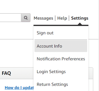 From the available drop-down menu, select Account Info.